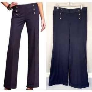 Express Navy Mid Rise Sailor Flare Pants Cuffed